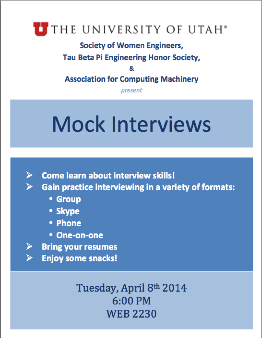 mock interviews tuesday swe at the university of utah